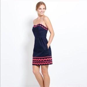 Vineyard Vines Ric Rac Navy Pink Strapless Dress 8